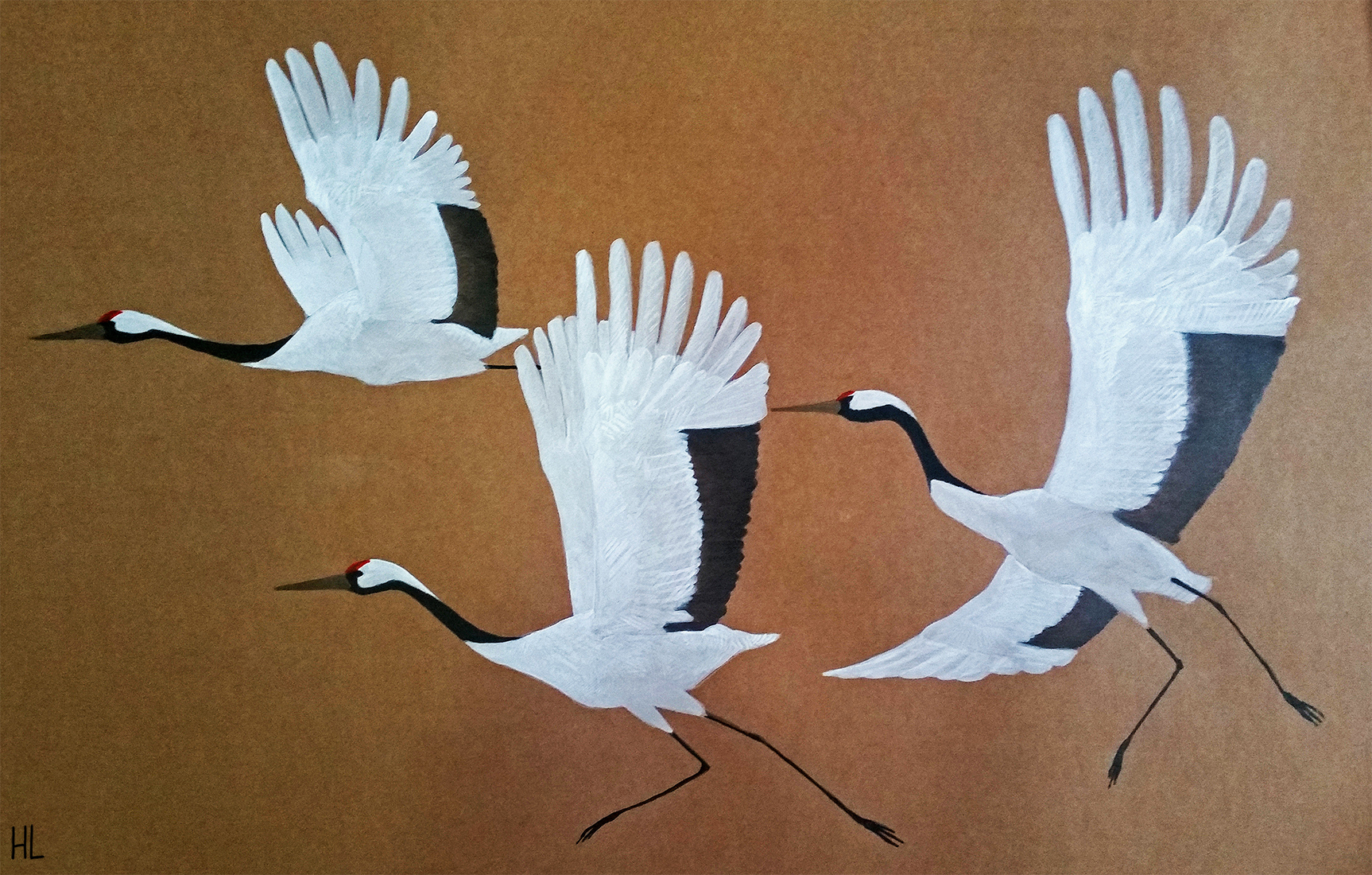Painting in watercolor and gouache of three flying cranes