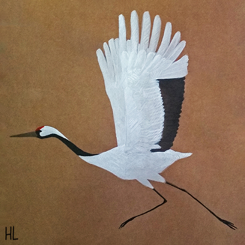 cut out from a large painting with three flying cranes