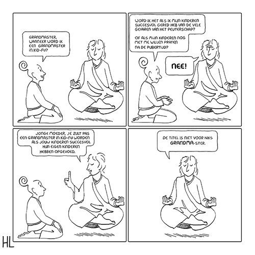 Cartoon on how one becomes a grandmaster in raising children.